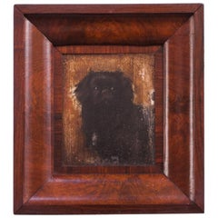 "1930s ""English Toy Spaniel"" Oil on Canvas in Burl Frame"