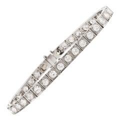 1930s European Diamond Square Platinum Straight Line Bracelet
