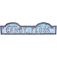 1930s Fairground Bulb Signs, Candy Floss and Candy Apples