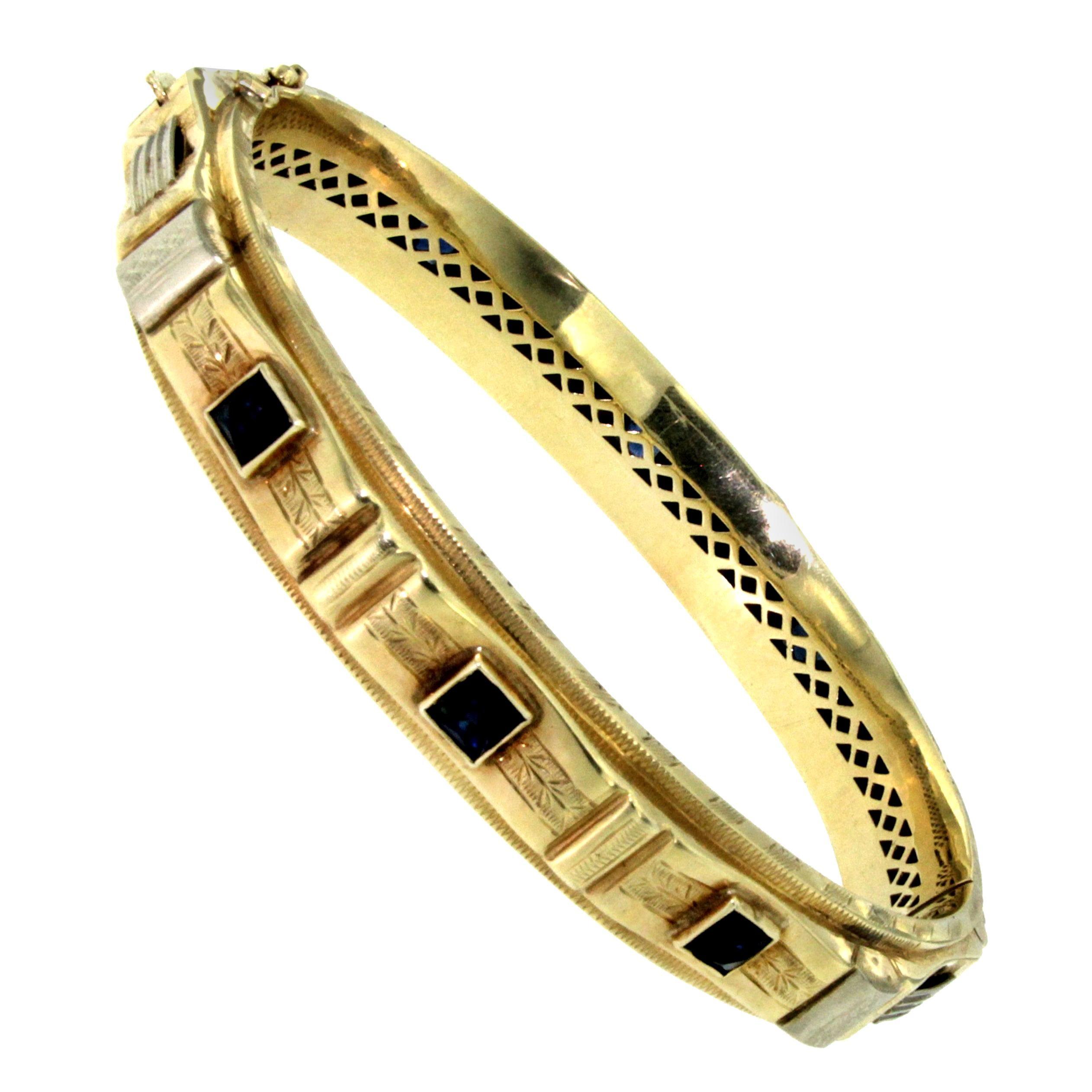 1930s Fasces Lictorii Gold Bangle Bracelet