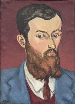 1930s European Fauvist Signed Oil Painting - Portrait of Bearded Young Man