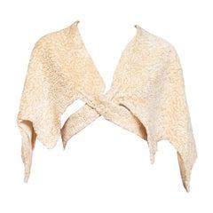 1930S Ivory Silk Faux Lamb Fur Wrap Cape