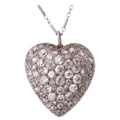 1930s Figural Puffy Heart Diamond, Platinum and Gold Pendant with Chain