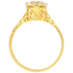 1930s Filigree 18 Karat Yellow Gold Engagement Ring