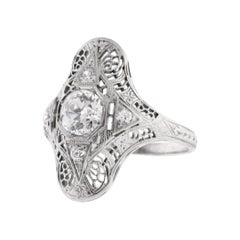 1930s Filigree Old European Diamond Ring
