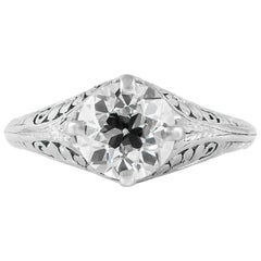 1930s Filigree Platinum Setting with Four Prongs Engagement Ring