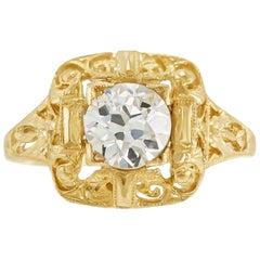 1930s Filigree with 0.94 Carat Center Diamond Engagement Ring