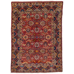 1930s Fine Antique Persian Tabriz Rug, All-Over Red Field, Yellow & Navy Accents
