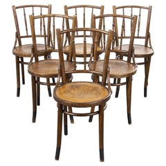 1930s Fischel French Bentwood Dining Chairs, Set of Six