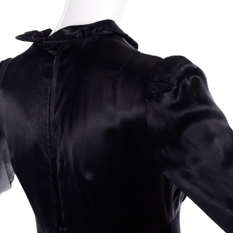 1930s Fitted Black Silk Satin Long Dress in Victorian Style With Ruffles  For Sale 6