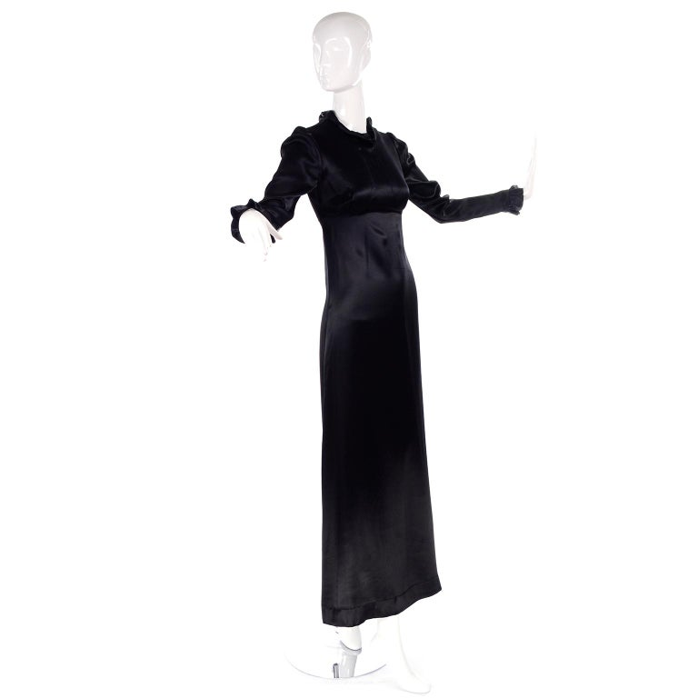1930s Fitted Black Silk Satin Long Dress in Victorian Style With Ruffles  In Excellent Condition For Sale In Portland, OR