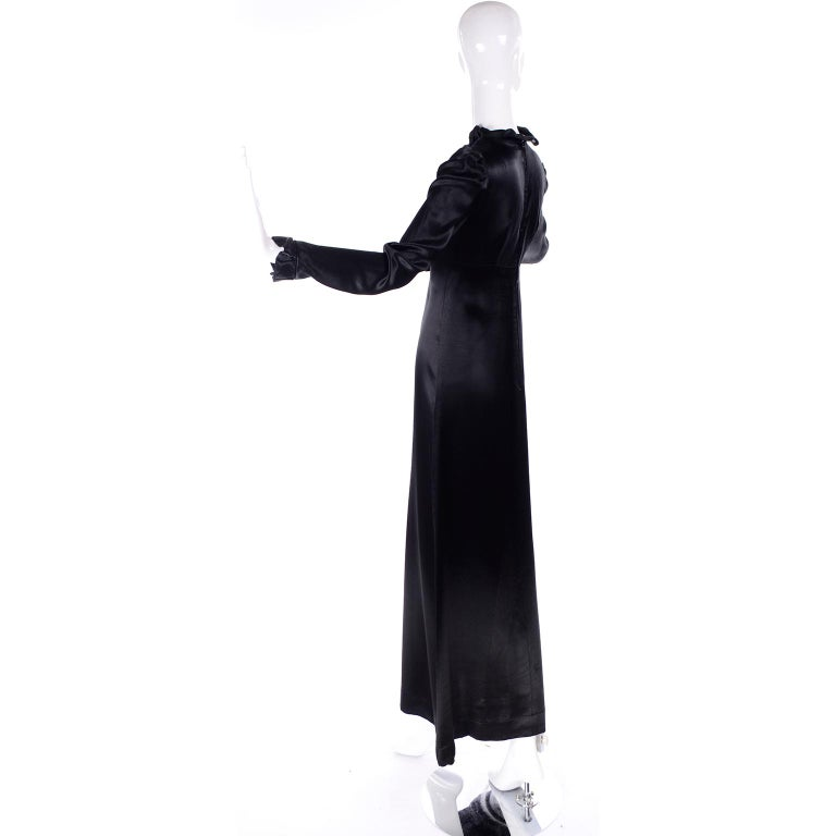 Women's 1930s Fitted Black Silk Satin Long Dress in Victorian Style With Ruffles  For Sale