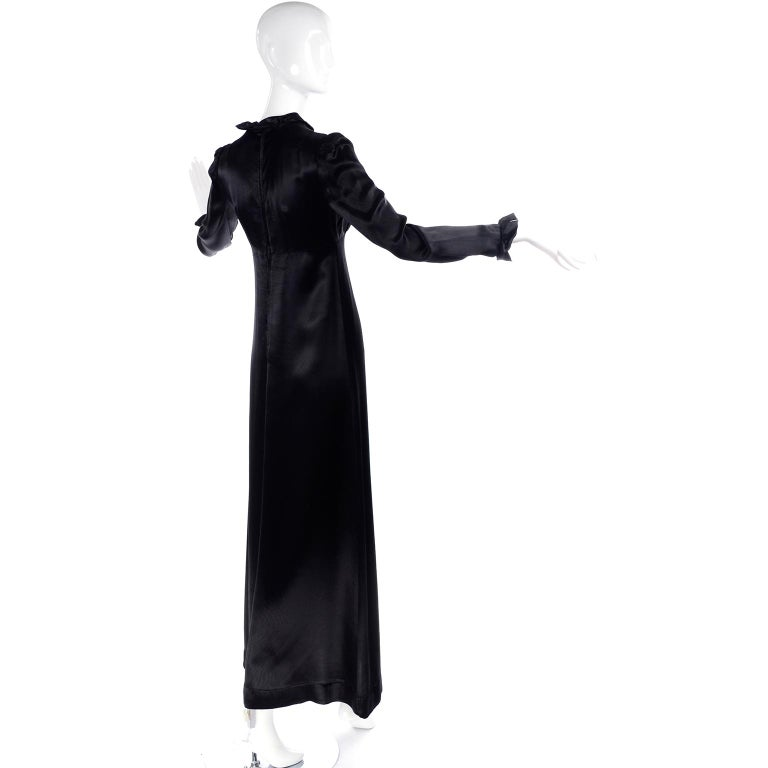 1930s Fitted Black Silk Satin Long Dress in Victorian Style With Ruffles  For Sale 1