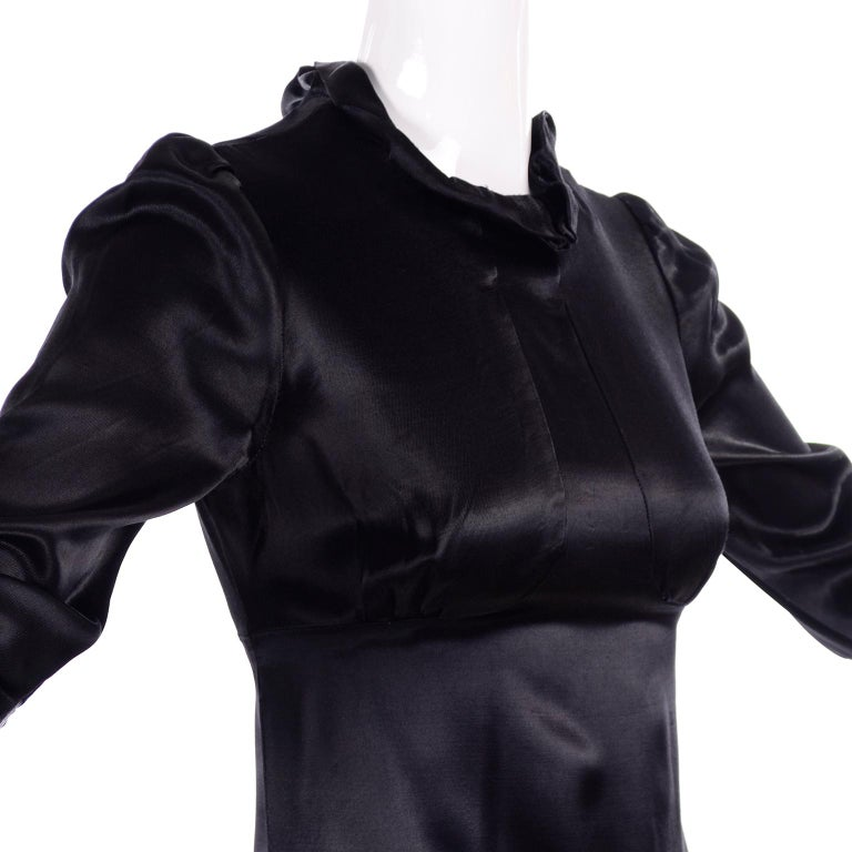 1930s Fitted Black Silk Satin Long Dress in Victorian Style With Ruffles  For Sale 3