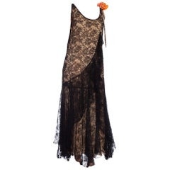 1930'S Floral Chantilly Lace With Original Slip And Flower Corsage  Dress