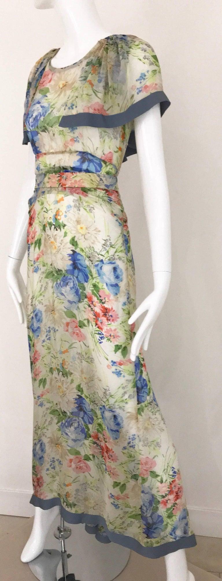 Women's 1930s Floral Print Silk Dress For Sale