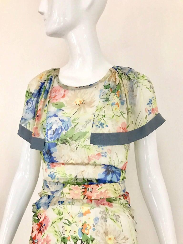 1930s Floral Print Silk Dress For Sale 1