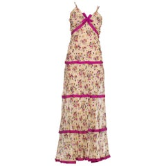 1930's Floral Silk Chiffon Boho Maxi Dress With Ribbon