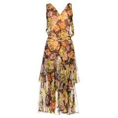 1930S Floral Silk Chiffon Dress