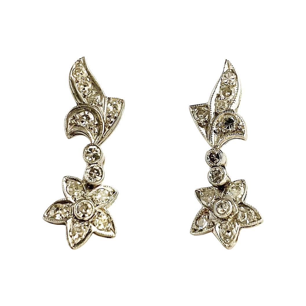 1930s Flowers Diamond Palladium Drop Stud Earrings