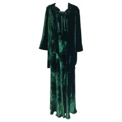 1930s Forest Green Velvet Bias Cut Dress and Jacket