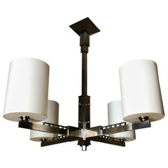 1930s Four-Arm Modernist Nickeled Bronze Chandelier