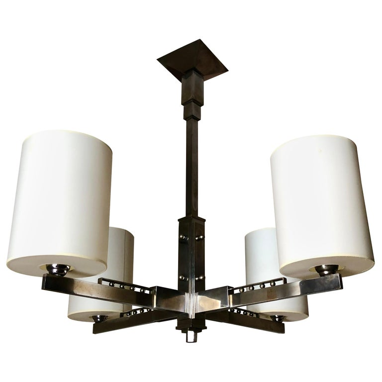 1930s Four-Arm Modernist Nickeled Bronze Chandelier For Sale