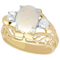 1930s French 1.82 Carat Opal and Diamond Yellow Gold Ring