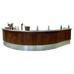 1930s French Art Deco Bar, Tin Curved Counter Top, Oak Walnut Wood Base