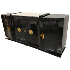 1930s French Art Deco Black Lacquered Sideboard