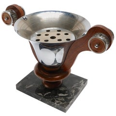 1930s French Art Deco Chrome and Copper Centerpiece on Marble Base