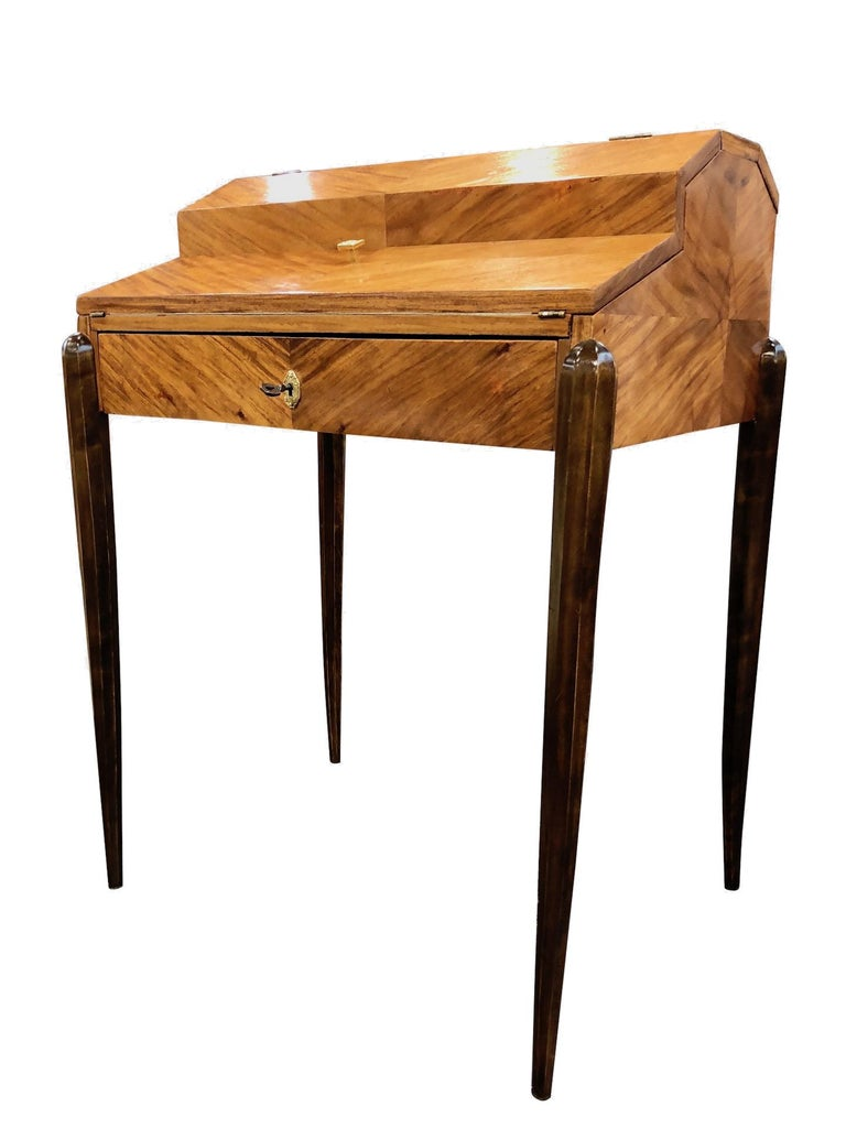 1930s French Art Deco Davenport on Thin Table Legs in Real Wood Veneer In Fair Condition For Sale In Baden-Baden, DE