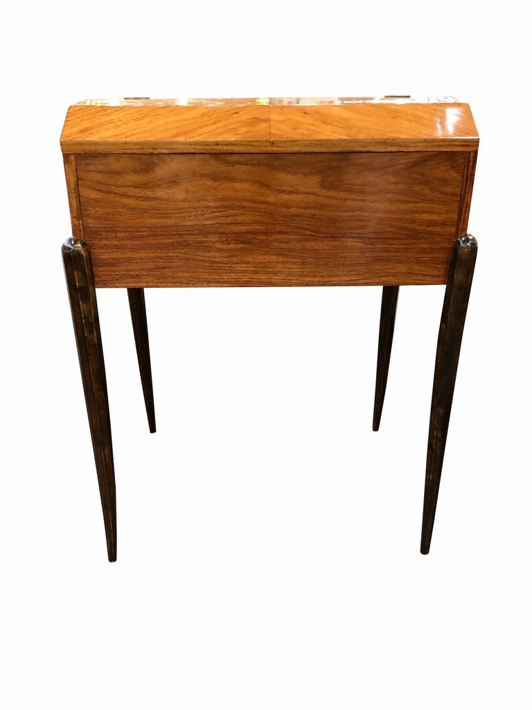 Mid-20th Century 1930s French Art Deco Davenport on Thin Table Legs in Real Wood Veneer For Sale