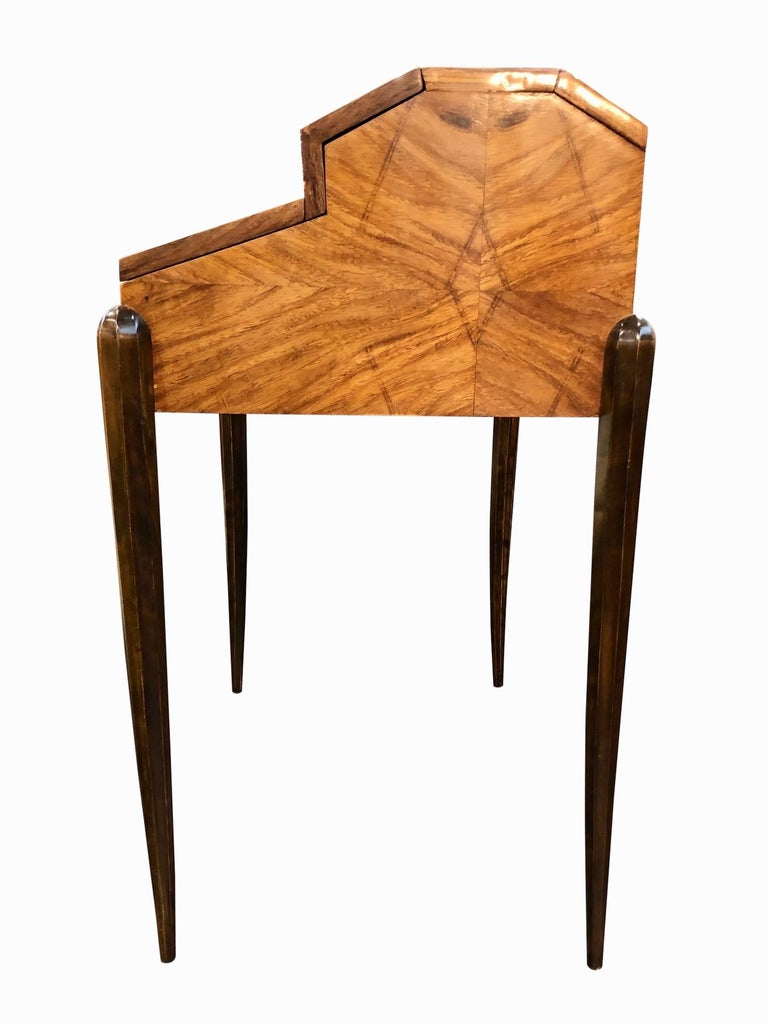 1930s French Art Deco Davenport on Thin Table Legs in Real Wood Veneer For Sale 1
