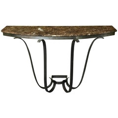 1930s, French Art Deco Handwrought Iron and Marble Console