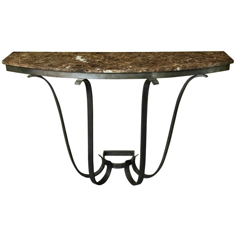 1930s, French Art Deco Handwrought Iron and Marble Console For Sale