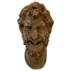 1930s French Art Deco Huge Plaster Head of a Satyr