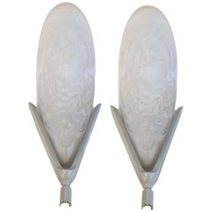 1930s French Art Deco Matching Pair of Wall Light Sconces