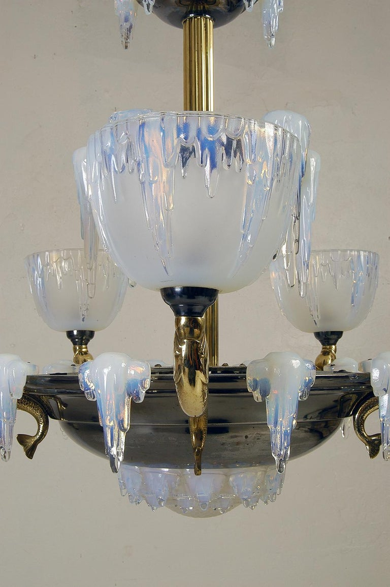 Magnificent 1930s French High Art Deco 'Icicle' chandelier by Henri Petitot, Lyon France. The spectacular opalescent glasswork is by Ezan, Paris.