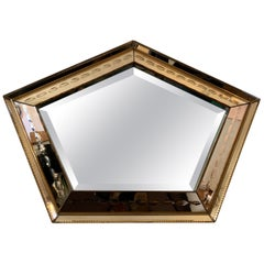 1930s French Art Deco Pentagon Bronzed and Clear Glass Etched Wall Mirror