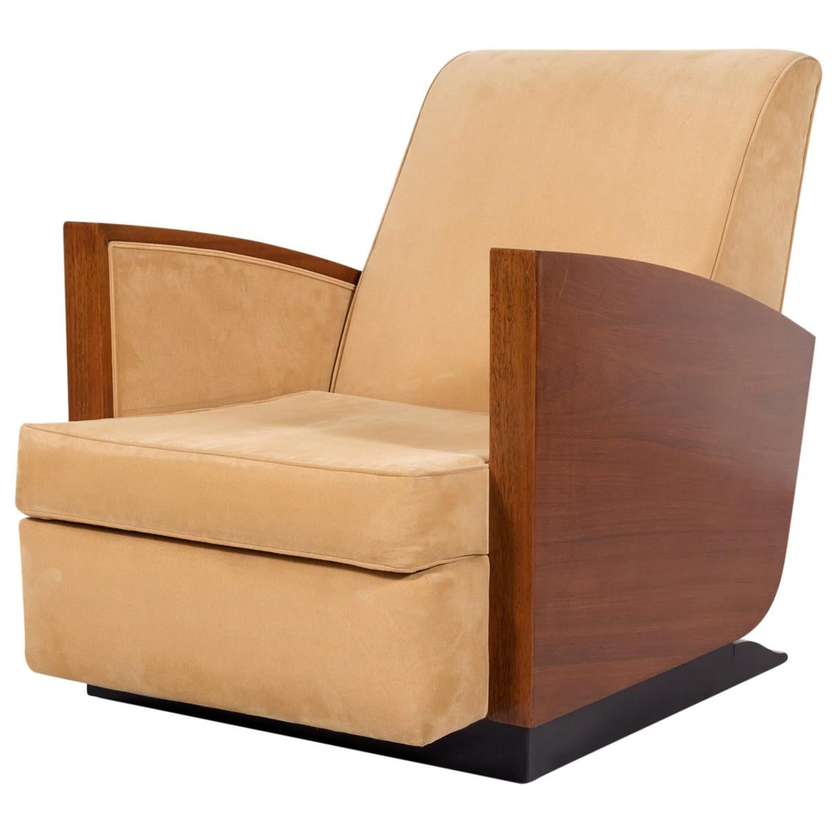 1930s French Art Deco Period Walnut Armchair or Lounge Chair