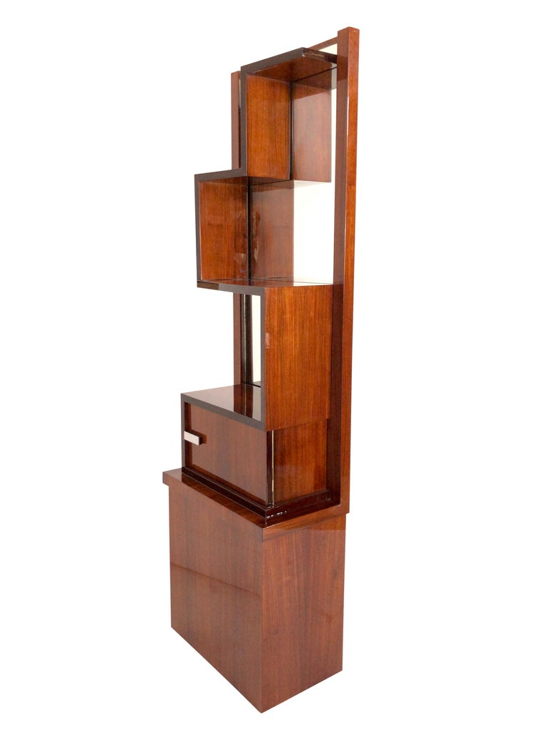 Lacquered 1930s French Art Deco Shelve with Mirror by Auguste Vallin For Sale