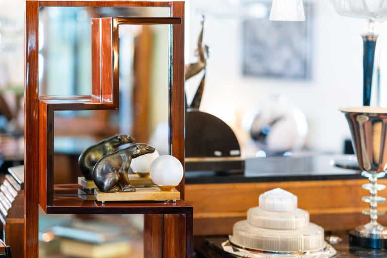 1930s French Art Deco Shelve with Mirror by Auguste Vallin For Sale 2