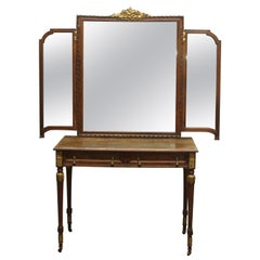 1930s French Art Deco Tri-fold Mirrored Vanity with 2 Drawers and Brass Pulls