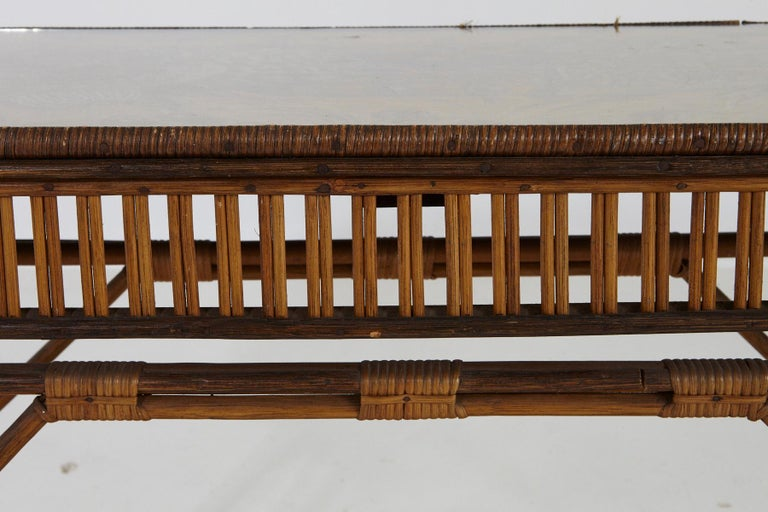 1930s French Bamboo and Wicker Console Table with Glass Top and Second Tier For Sale 6