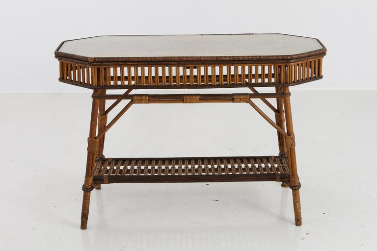 1930s French Bamboo and Wicker Console Table with Glass Top and Second Tier In Good Condition For Sale In Weston, CT