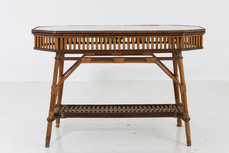 20th Century 1930s French Bamboo and Wicker Console Table with Glass Top and Second Tier For Sale