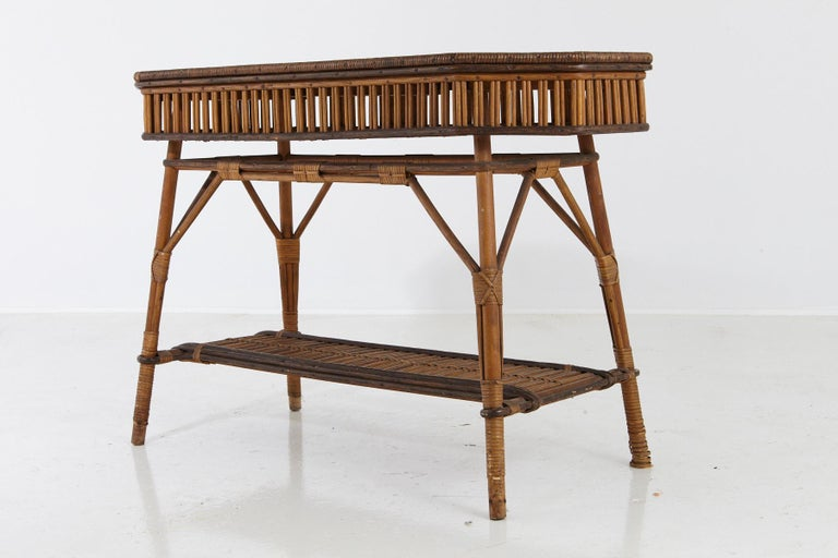 Fabric 1930s French Bamboo and Wicker Console Table with Glass Top and Second Tier For Sale