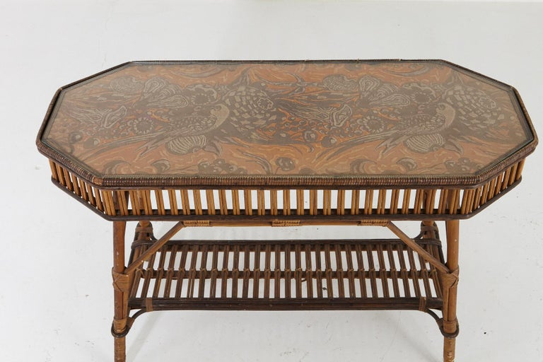 1930s French Bamboo and Wicker Console Table with Glass Top and Second Tier For Sale 1