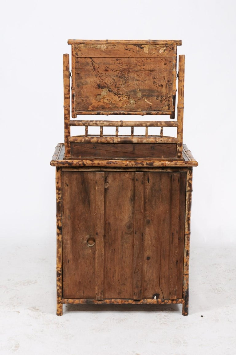1930s French Bamboo and Wicker Four-Drawer Commode with Upper Swivel Mirror 6